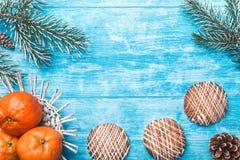 天蓝色的木背景 冷杉绿色结构树 果子用普通话和甜点 圣诞卡或新年 库存图片