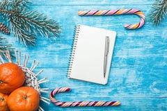天蓝色的木背景 冷杉绿色结构树 果子用普通话 圣诞节贺卡和新年 圣诞老人` s信件的空间 免版税图库摄影