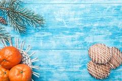 天蓝色的木背景 冷杉绿色结构树 果子用普通话 甜点 圣诞节贺卡和新年 库存照片