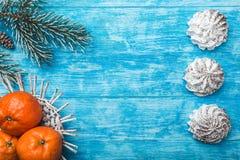 天蓝色的木背景 冷杉绿色结构树 果子用普通话 空间圣诞节消息或新年 库存图片