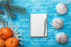 天蓝色的木背景 冷杉绿色结构树 果子用普通话 空间圣诞节消息或新年 免版税库存照片