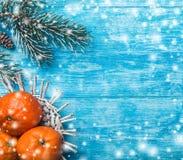 天蓝色的木背景 冷杉绿色结构树 果子用普通话 空间圣诞节消息或新年 库存照片