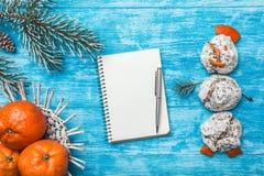 天蓝色的木背景 冷杉绿色结构树 装饰锥体 从甜点的雪人 果子用普通话 免版税库存图片