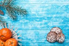 天蓝色的木背景 冷杉绿色结构树 装饰锥体 甜点 果子用普通话 免版税库存图片