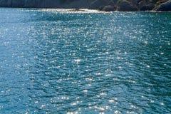 天蓝色的海运水面 免版税库存图片