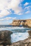 天蓝色的窗口在戈佐岛海岛,马耳他 免版税库存图片