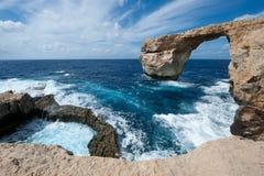 天蓝色的窗口在戈佐岛,马耳他 库存图片