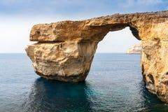 天蓝色的窗口在崩溃前的马耳他 免版税库存图片