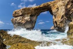 天蓝色的窗口,戈佐岛,马耳他记忆  免版税库存图片