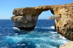 天蓝色的窗口,马耳他 库存照片
