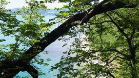 天蓝色的美好的风景在有一个镇的海湾海岸线浇灌天际的 免版税库存照片