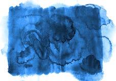 天蓝色的蓝色与饱和的小室的水彩长方形背景 库存图片
