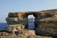 天蓝色的视窗。 Gozo,马耳他。 库存图片