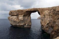 天蓝色的gozo岩石 库存照片