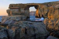 天蓝色的gozo海岛马耳他视窗 图库摄影