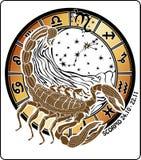 天蝎座黄道带标志。占星圈子 免版税库存图片