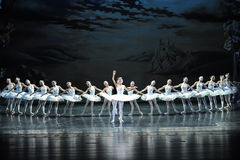 天鹅和王子是神仙的传说这天鹅湖边芭蕾天鹅湖 图库摄影