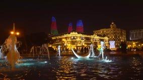 天鹅喷泉看法在全国海滨公园在晚上 股票录像