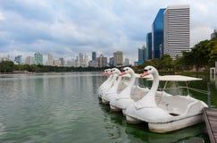 天鹅形状的脚蹬小船在公园 库存照片