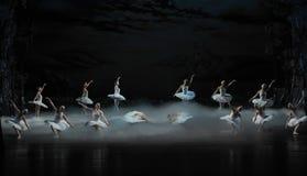天鹅湖芭蕾天鹅湖早晨这为时场面的天鹅湖  图库摄影