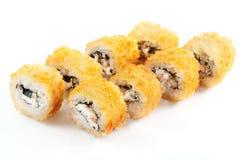 天麸罗卷用三文鱼和乳脂干酪 库存图片