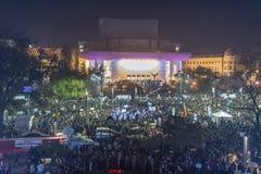 天3反政府抗议者在布加勒斯特 免版税图库摄影