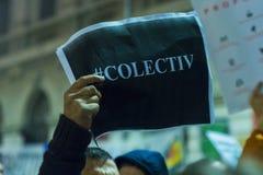 天3反政府抗议者在布加勒斯特 免版税库存照片