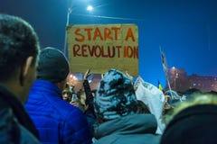 天4奇特的抗议在布加勒斯特 图库摄影