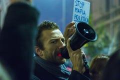 天4奇特的抗议在布加勒斯特 库存图片