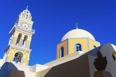 天主教会在圣托里尼 免版税库存照片
