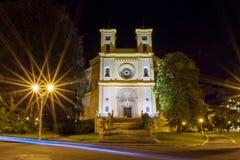 天主教会在晚上- Marianske Lazne -捷克 免版税图库摄影