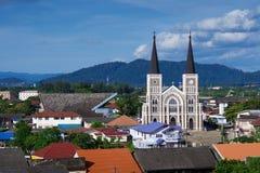天主教在庄他武里,泰国 免版税库存照片