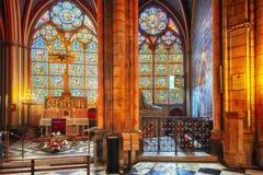 天主教巴黎圣母院内部  库存图片