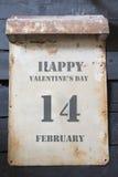 天2月14日,华伦泰` s,葡萄酒样式 库存照片