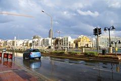 天11月7日-旋风的地中海在马耳他 免版税库存照片