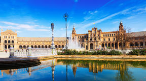 天晴朗的观点的Plaza de西班牙 塞维利亚 免版税库存照片