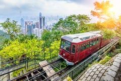 太平山电车看法在香港 免版税库存图片