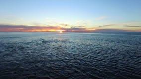 太平洋的空中射击和在日落的海岸 股票录像