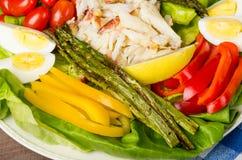 太平洋大蟹沙拉用芦笋和五颜六色的胡椒 库存照片