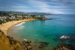 太平洋海岸的看法从新月形海湾点公园的,在Lagun 免版税图库摄影
