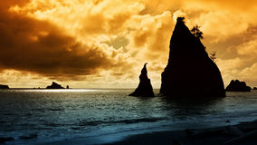 太平洋西北地区沿海日落 图库摄影