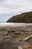 太平洋西海岸海滩漂流木头北部顶头灯塔 库存图片