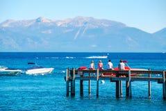 太浩湖和木码头 库存图片