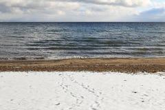 太浩湖风景冬天背景 免版税图库摄影