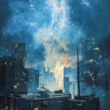 太空星群的空间殖民地在夜之前 皇族释放例证