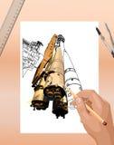 太空火箭剪影 库存照片