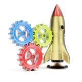 太空火箭和齿轮 库存照片