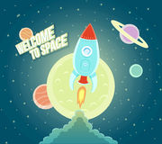 太空火箭船天空象动画片现代平的设计 免版税库存图片