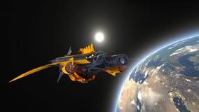 太空船和地球 免版税库存照片
