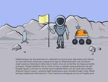 太空船和宇航员的传染媒介例证 库存图片